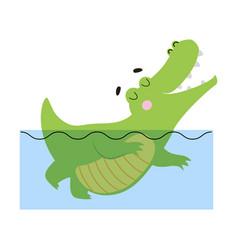 cute happy crocodile swimming in water funny vector image