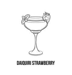 Daiquiri strawberry black and white vector