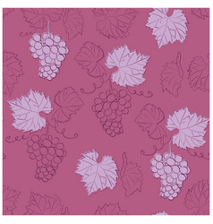 Dark red seamless pattern with grapes vector