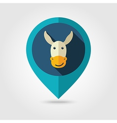 Donkey flat pin map icon Animal head vector