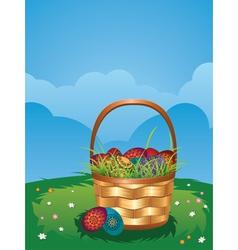 Easter Basket on Lawn2 vector