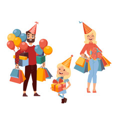 family shopping for birthday presents vector image