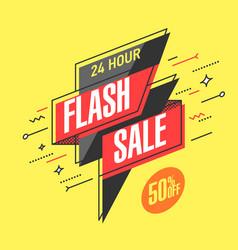 flash sale banner template in flat trendy memphis vector image