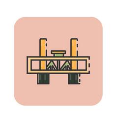 Flat color sacramento bridge icon vector