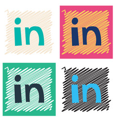 Flat linkedin color icon glossy app icon logo vector
