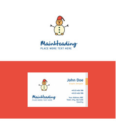 flat snowman logo and visiting card template vector image