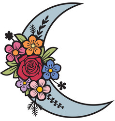 floral moon crescent with flowers vector image
