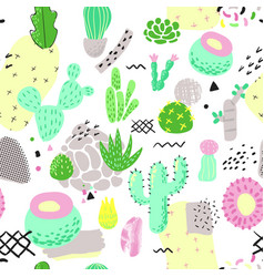 Floral seamless pattern with cactuses succulents vector