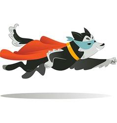 Flying super hero dog in fly vector