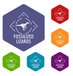 Fossilized lizard icons hexahedron vector