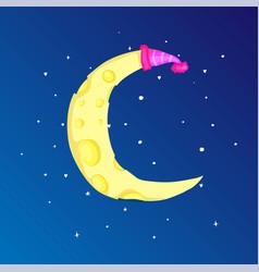 Fun cartoon yellow crescent moon with cap among vector