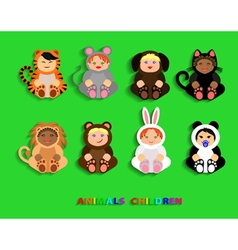Funny children in animal costumes vector