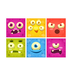 Funny monster faces set colorful square mutant vector