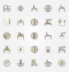 Geothermal energy colorful icons vector