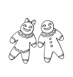 gingerbread man and woman isolated on white vector image