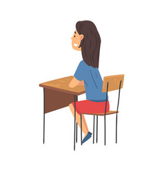 Girl sitting at desk in classroom and vector