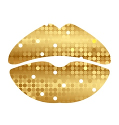 gold shiny lips vector image vector image