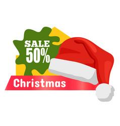 Half price christmas sale card vector