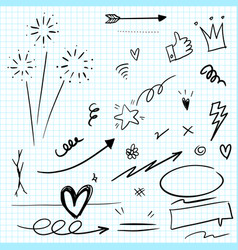 Hand drawn set elements arrow heart love vector