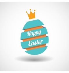 Happy Easter Egg ribbon and golden egg vector image