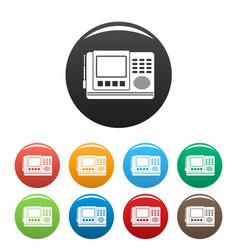 House intercom icons set color vector