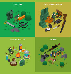 Hunting concept icons set vector