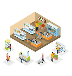 isometric supermarket concept vector image