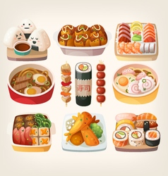 Japanese food stickers vector image