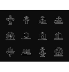 Landscape fountains white flat line icons vector image