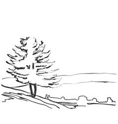 Landscape sketch a park bench tree vector