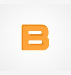 Letter b bold geometric font element modern vector