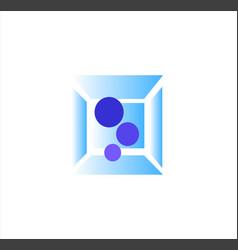 logo blue circle inside chrome box vector image