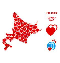 Lovely hokkaido island map mosaic of hearts vector