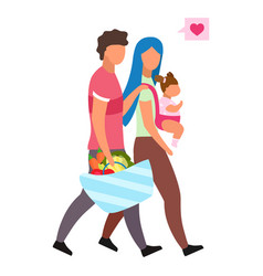 Loving family with child flat young parents vector