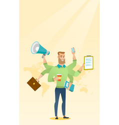 Man coping with multitasking vector