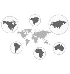 Map of the world with its individual parts grey vector