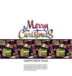 merry christmas card with handdrown christmas vector image