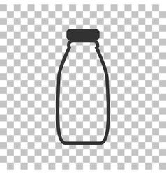 Milk bottle sign Dark gray icon on transparent vector image