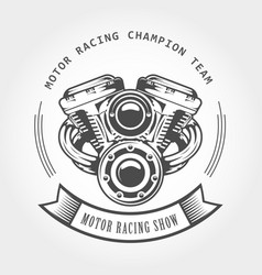 Motorcycle engine - chopper motor bike emblem vector