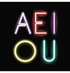 Neon font text design vector