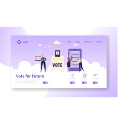Online e-voting registration concept landing page vector