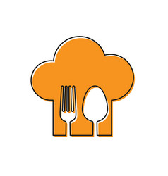 Orange chef hat with fork and spoon icon isolated vector