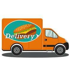 Orange delivery truck side view burger poster vector