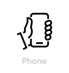 phone message social icon editable line vector image