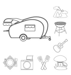 picnic and equipment outline icons in set vector image