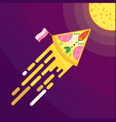pizza and cheese moon vector image