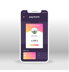 purple and pink online payment ui ux gui screen vector image