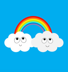rainbow and two clouds in the sky happy smiling vector image