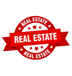 real estate ribbon real estate round red sign vector image