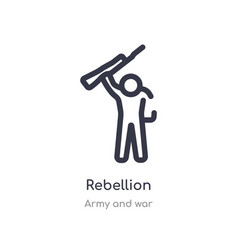 Rebellion outline icon isolated line from army vector